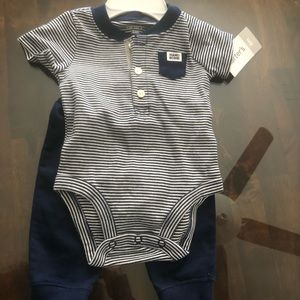 Carter's Blue and Gray striped Spring Outfit